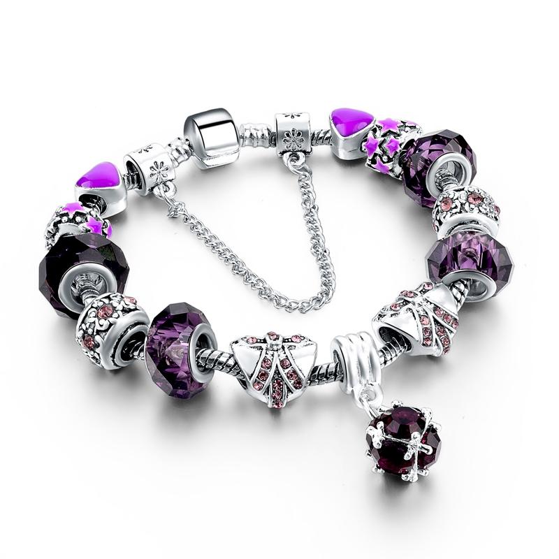 Erfly Purple Crystal Silver Plated Charm Bracelets Ken
